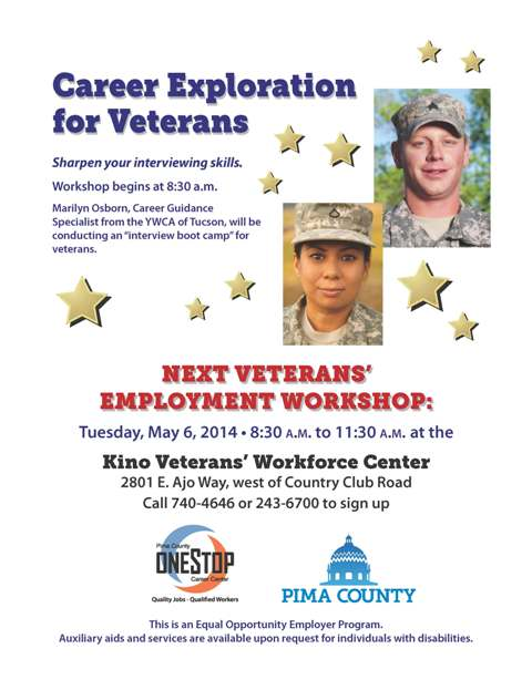 May 6 veterans career workshop