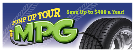 Pump Up Your MPG logo with Tire Treads