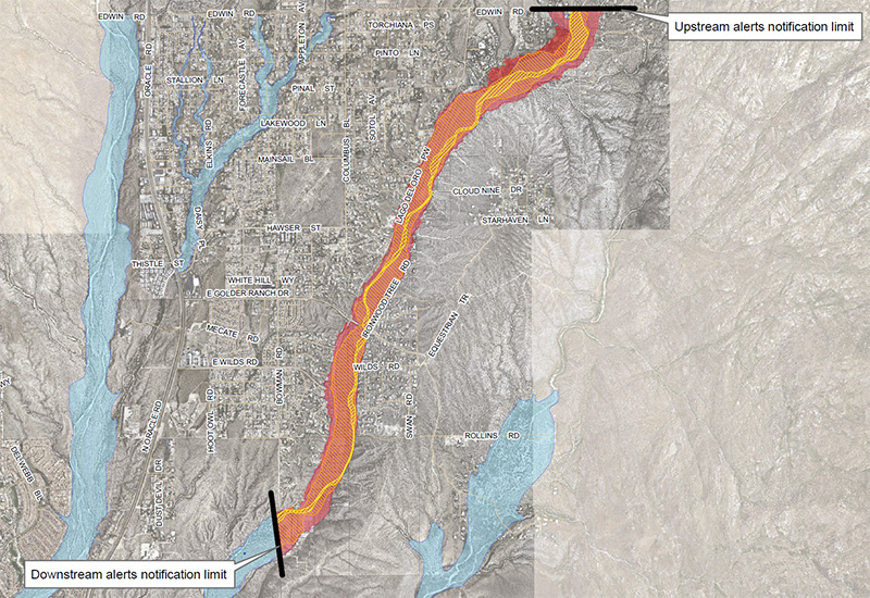 Canada del Oro Wash inundation map. Click for full map iwth legend.