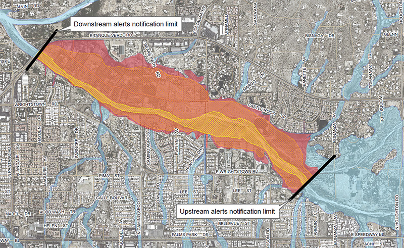 Flood inundation map for Middle Tanque Verde Creek (click to view full map)