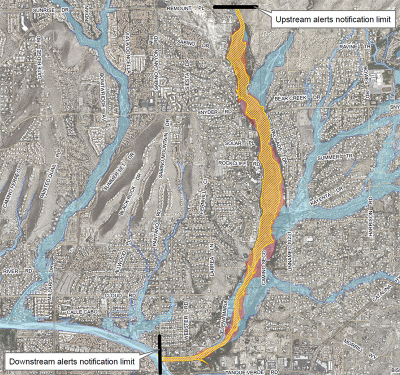 Click for full map of inundation areas for Sabino Creek, with legend