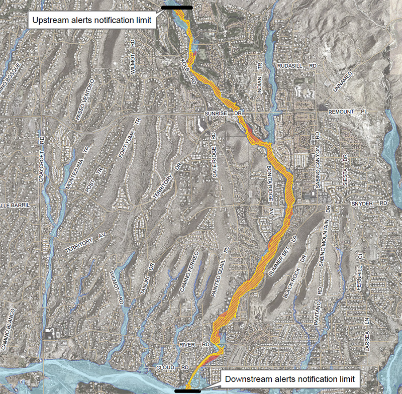 Map of Ventana Canyon Wash inundation area (click for full map)