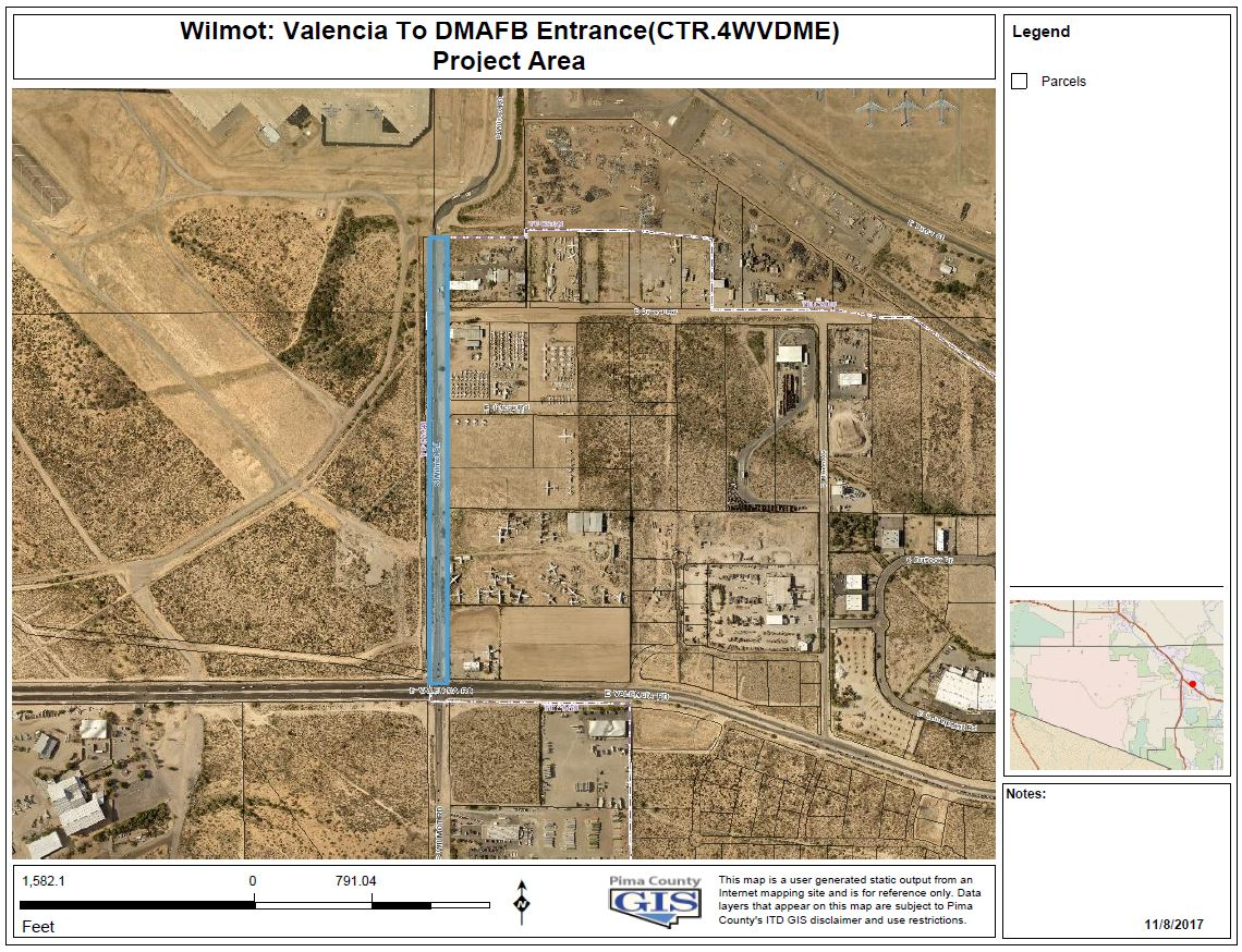 Wilmont Rd - Valencia to DMAFB Entrance map
