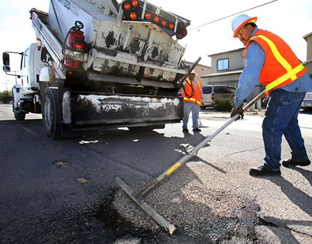 Pothole patching work